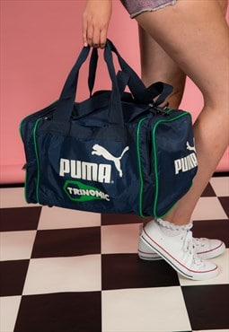 80s 90s vintage blue & green PUMA Trinomic gym bag holdall