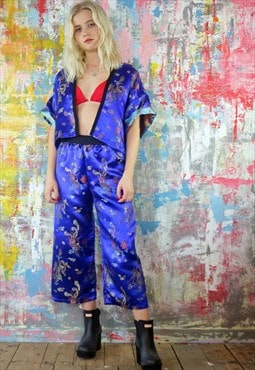 Crop Trousers & Kimono  Co-ordinates in Chinese Dragon Satin