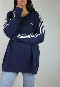 Vintage Adidas Sweatshirt Jumper w Logo Front & 3 Stripes