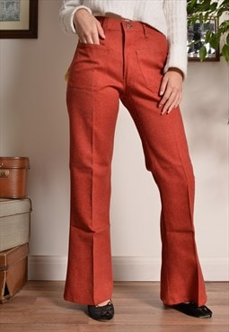 Vintage 60s Flare Trousers in Red