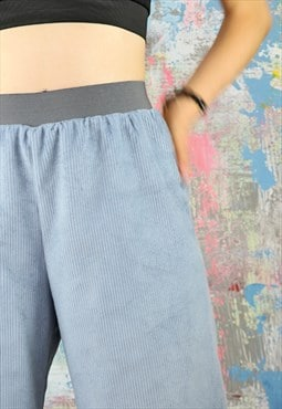 Pale Grey Corduroy Cropped Trousers