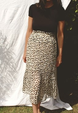 Pleated Midi Skirt In Cream Leopard Print