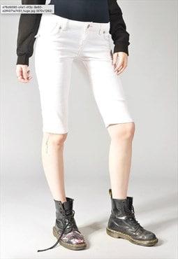 Vintage Levi's Denim Skimmer Bermuda Shorts White