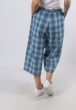 High Waisted Trousers Tartan Checked Wide UK 12 - 14 (G72E)