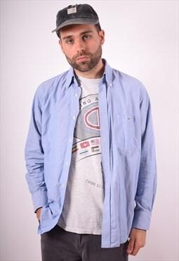 Lacoste Mens Vintage Shirt Medium Blue 90s