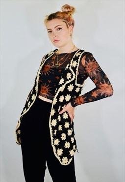 Vintage Crochet Floral Boho Cardigan