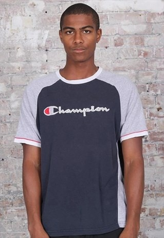 Vintage Champion Big Logo T-Shirt Blue Grey