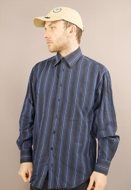 Vintage YSL Striped Shirt in Black & Blue with Logo
