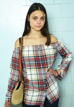 Vintage 80s tartan customized off-shoulder bardot blouse top