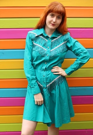 VINTAGE 80S TURQUOISE WESTERN SKATER DRESS WITH FRINGING