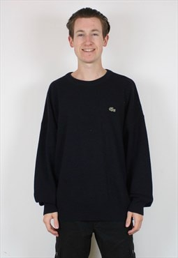 Vintage Lacoste Knit Sweatshirt in Navy Blue with Embroidery