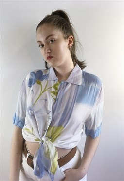 Womens Vintage 80s blouse blue floral oversized shirt top
