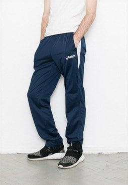Vintage ASICS pants. Navy blue athletic elastic waist