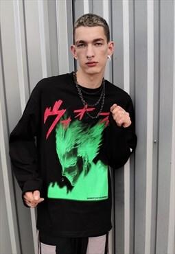 Korean anime Kawaii thin sweatshirt Naruto jumper in black