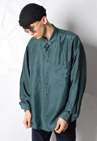 VINTAGE 90S DARK GREEN SILK LONG SLEEVE SHIRT
