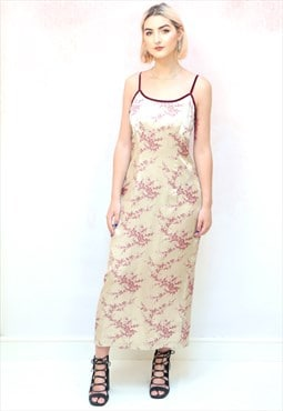 1990s vintage beige and maroon Chinese cami midi dress