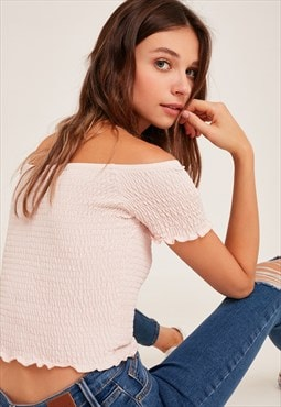 Subdued pink shirred crop top
