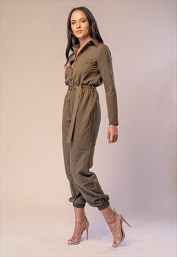 Power Khaki Jumpsuit