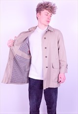 Vintage Aquascutum House Check Trench Coat Jacket in Beige