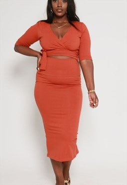 Favell High Waisted Midi Skirt in Burnt Orange