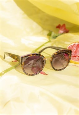 Tortoiseshell Gold Rim Cat Eye Sunglasses