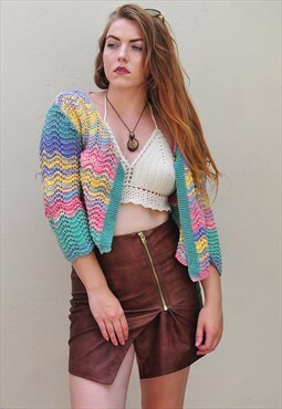 Vintage Pastel Rainbow Home Knit Crochet Cropped Cardigan