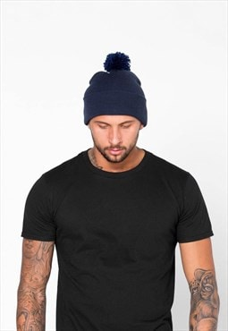 Essential Bobble Pom Pom Beanie Hat - Navy Blue