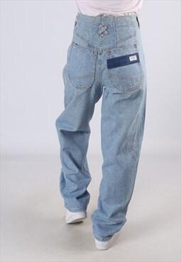 Vintage High Waisted Denim Jeans Wide Tapered UK 10 (C1I)