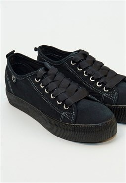 Walk In Pitas Black Canvas Trainers