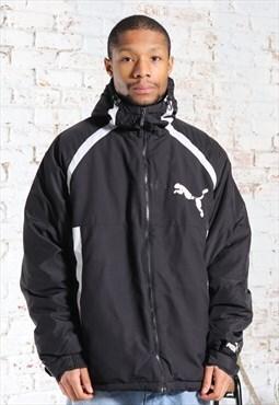 Vintage Puma Parka Logo Quilted Jacket Black