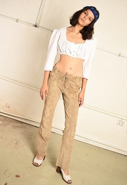 Vintage 90s Paris chic real suede lace up trousers in beige