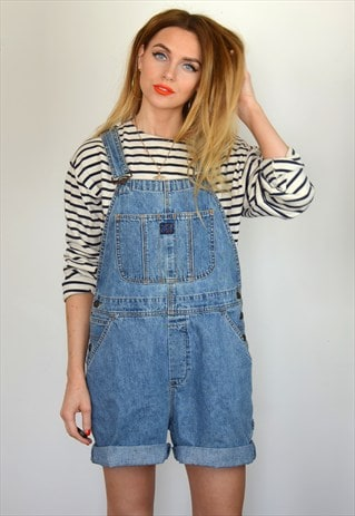 VINTAGE 90S LIGHT DENIM BLUE SHORT DUNGAREES