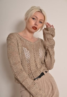 Vintage 90s Beige Chunky Knit Jumper with Gold Thread