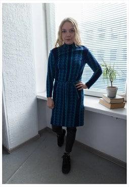 Vintage 70's Blue Patterned Wool High Collar Dress