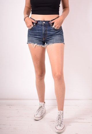 LEVI'S 501 WOMENS VINTAGE DENIM SHORTS W28 BLUE 90S