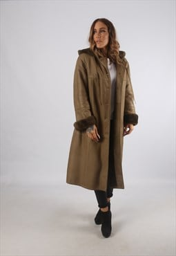 Vintage Sheepskin Leather Shearling Coat Mid Hooded (K93J)