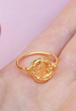 Gold Celestial Celestial Moon and Stars Ring Handmade