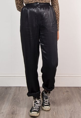 VINTAGE 90'S BLACK SPARKLY HIGH WAIST TROUSERS