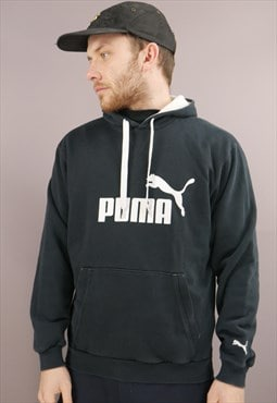 Vintage Puma Hoodie In Black With Logo