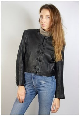 Cropped Leather Jacket 80s / Black