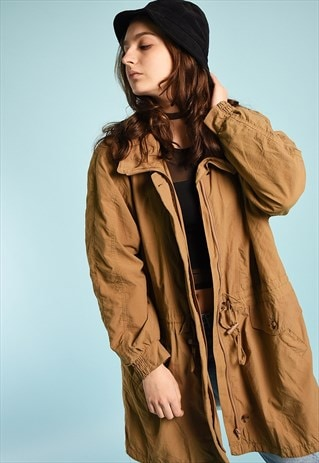 VINTAGE 90S FESTIVAL GARM TRENCH THIN JACKET PARKA IN BROWN