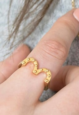 Gold Stacking Ring Top of Heart with Balls Handmade