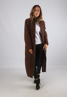 Vintage Sheepskin Suede Shearling Coat Long UK 14 - 16 (K9BP