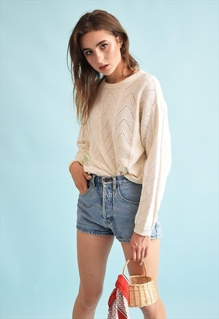 90'S RETRO KNIT NEUTRAL OVERSIZED FESTIVAL JUMPER TOP