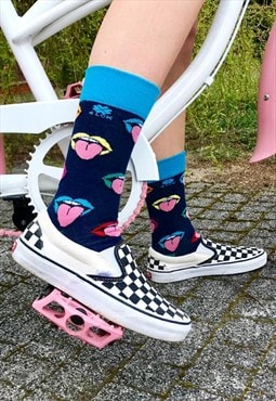 Funny fashion Socks with colourful mouth and pink tongue