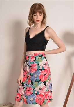 Vintage Floral Button Midi Skirt in Pink