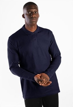 Essential Long Sleeve Collared Polo Shirt Top - Navy Blue