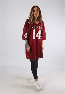 Vintage Oversized T-Shirt Football Jersey Top Long  (J-EDI)