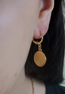 Arabian coin 24k gold charm hoop earrings