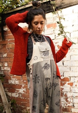 Fairtrade Natural Block Print Overalls Dungarees